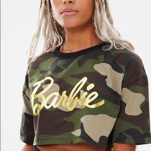 Missguided Barbie Camo Print Slogan T-Shirt